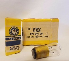 Lot 6 General Electric GE #5 6S6DC Clear 6W 24V S6 Miniature Light Bulbs Lamps - $12.84