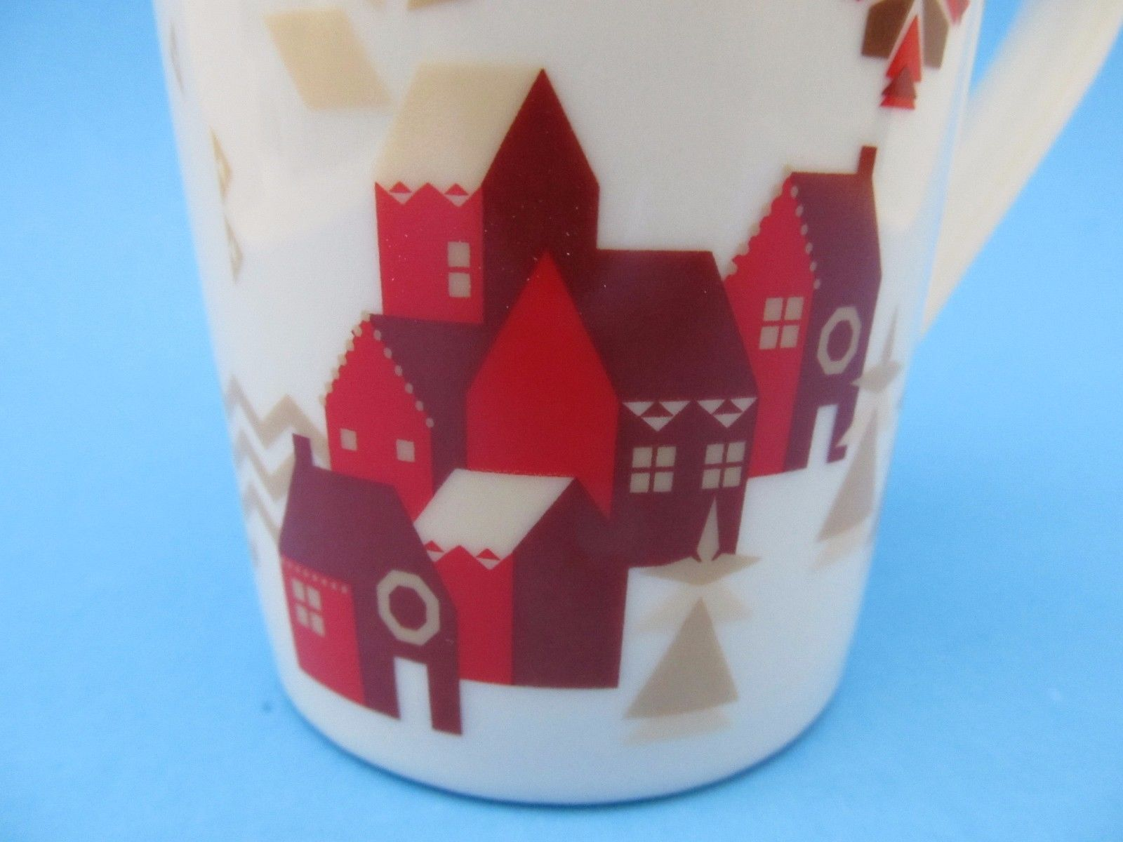 2013 Starbucks Christmas Coffee Mug Red Brown Town Trees 12
