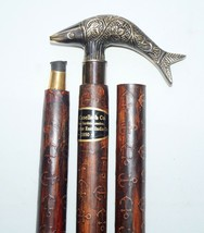 Solid Brass Fish style Designer Handle Antique Leather Wooden Walking St... - $42.06