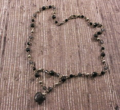 Vintage Black Beaded Heart Necklace - $2.96