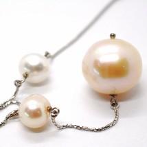 Collar Oro Blanco 750 18K, Perlas & Rosa 16 mm, Colgante Cadena Veneciano image 2