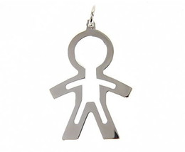 18K WHITE GOLD LUSTER PENDANT WITH BOY CHILD PERFORATED MADE IN ITALY 1.25 INCH image 1