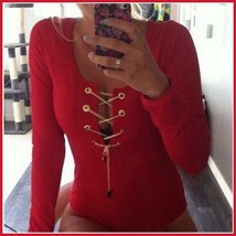 White Red and Midnight Black Sexy Deep V Lace Up Long Sleeve Bodysuit Romper image 2