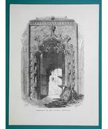 PORTUGAL Batalha Abbey Entrance to Chapel - 1877 Wood Engraving Illustra... - $8.09