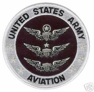 Primary image for ARMY AVIATION EMBROIDERED BLACK 3 SILVER WINGS  PATCH