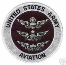 ARMY AVIATION EMBROIDERED BLACK 3 SILVER WINGS  PATCH - $18.04