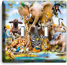 African Jungle Animals 2 Gang Light Switch Wall Plate Baby Nursery Room Hd Decor - $11.69