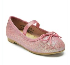 Cat & Jack Girls Toddler Size 5 Pink Lily Glitter Dress Slip-On Ballet Flats NWT