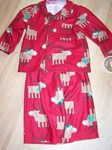 Size 12 Months Carters Flannel Pajamas Top Pants Holiday Reindeer Deer R... - $12.00