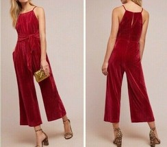 Anthropologie Evelyn Velvet Tie-Front Jumpsuit by Greylin $168 Sz XL - NWT - $89.99
