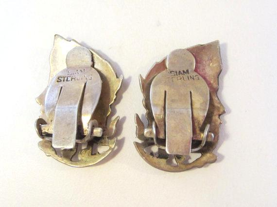 Siam Antique vintage sterling silver 925 Clip earrings