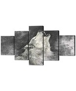 Yatsen Bridge Wolf Painting on Canvas 5 Piece, Grey Background Posters a... - $57.39