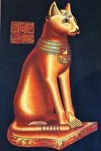 XL Unique Signed Handmade Papyrus Egyptian Mythical Cat Bastet Painting.... - $49.50