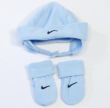 "Nike ""Swoosh"" Blue Fleece Winter Hat & Mittens Set Toddler  2T - 4 T  NWT - $18.55"
