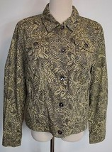 New Christopher Banks Medium Jacket Button Cotton Long Sleeve Black Tan ... - $23.35