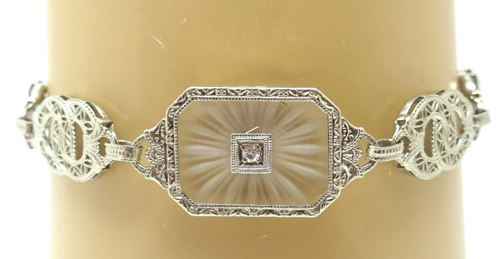 Filigree Art Deco 10K White Gold Genuine Natural Camphor Bracelet (#J3774)
