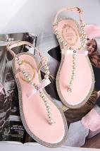Pink Women Pearls Beach Bridals Flip Flops,Pink Ladies Beach Wedding san... - $39.99