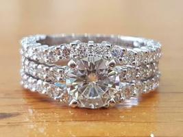 14K White Gold Over 4.00 Ct Round Cut Diamond Beautiful Trio Engagement ... - $189.99