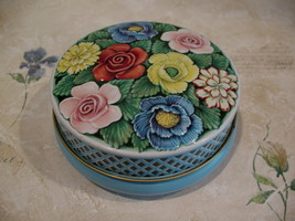 Vintage Riley's RILEYS Toffee Candy Tin Embossed FLOWERS Souvenir Collec... - $12.95