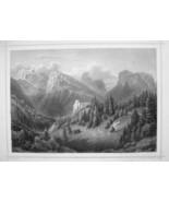 ITALY Castello di Botestagno & Mount Tofana - 1870s Original Engraving P... - $26.01