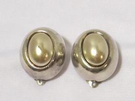 Mid Century Modern Sterling Silver Faux Pearl Vintage Sebbag Earrings Clip On de - $55.00