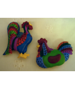 Rooster and Hen Button Covers - Colorful and Cute!!!! - $8.00