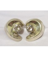 Vintage Mexican Sterling silver Round White Stone Clip On Earrings - $65.00