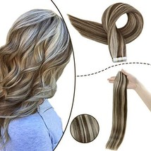 RUNATURE Tape Highlight Extensions 14inch Color 3P60 Dark Chocolate Brown Mix Pl