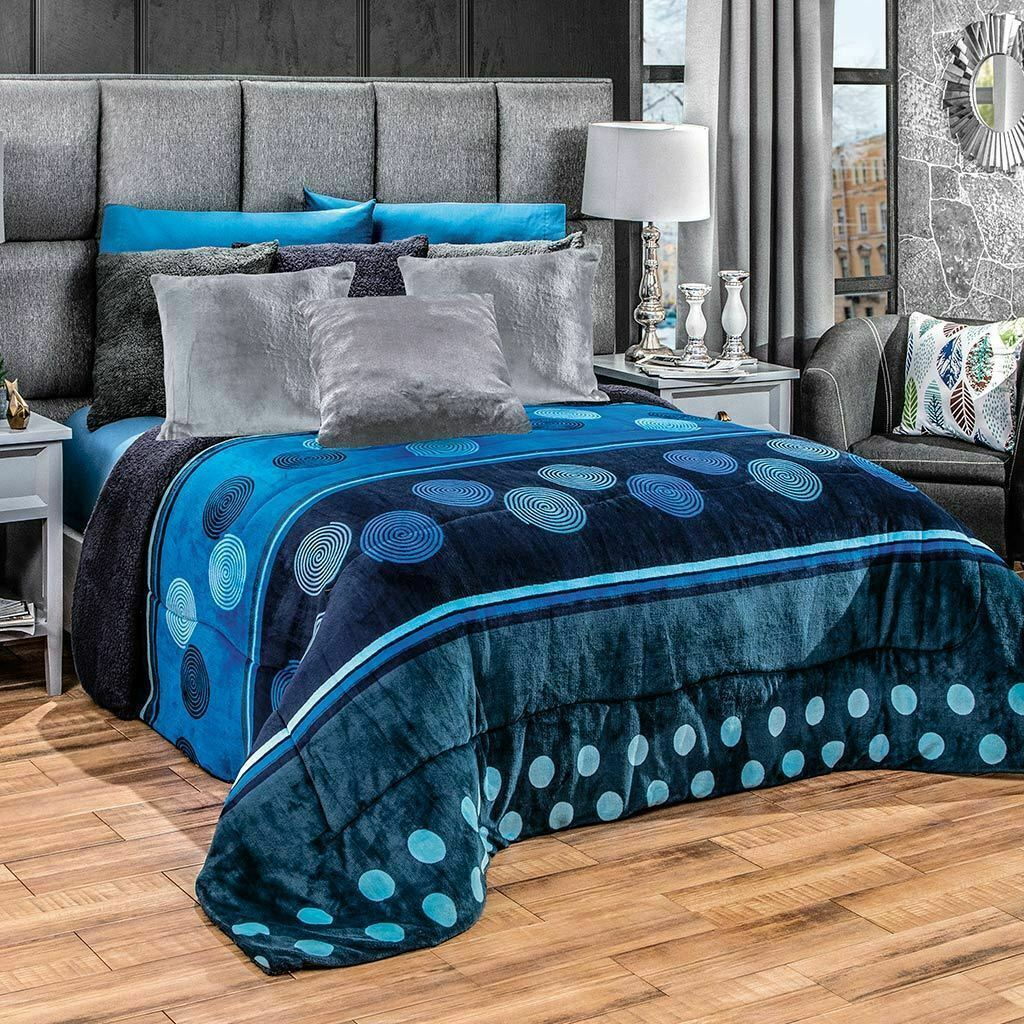 Primary image for Blue swirls and circles Comforter Luxury Bedding Blanket with sherpa KING/QUEEN
