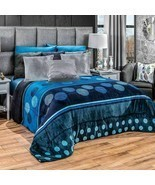 Blue swirls and circles Comforter Luxury Bedding Blanket with sherpa KIN... - £72.64 GBP