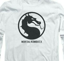 Mortal Combat X logo symbol graphic long sleeve white adult t-shirt WBM416 image 2