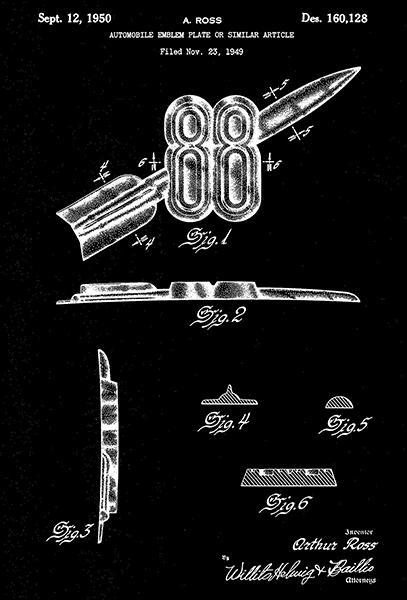 Primary image for 1950 - Rocket 88 Emblem Plate - A. Ross - Patent Art Poster