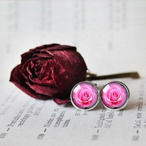 Pink rose Earrings, Pink rose Stud Earrings, Rose Earrings, Pink Rose Dangle Ear - $11.99