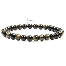 Beads Bracelets Natural Stone Gold Obsidian Beaded Stretch Bracelets For Man Wom - $17.09