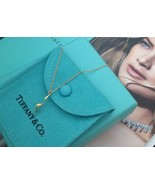 Authentic Tiffany & Co 18k Gold Gehry Orchid Drop Necklace Rare - $649.99