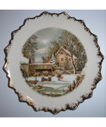 Currier and Ives Farmer's Home Winter Leaf Plate Gold Trim - $9.95