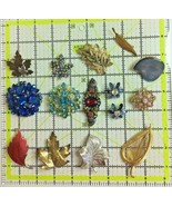 Lot of 15 Colorful Leaf Brooches Silver Gold Tone Crystal Rhinestone Jew... - $29.69