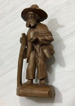 Carved Wooden Figure Hobo Decorative Statue Dark Brown Old Man Traveler ... - $14.45