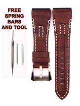 Compatible Seiko Velatura SRH011 26mm Brown Genuine Leather Watch Strap SKO106 - $34.54