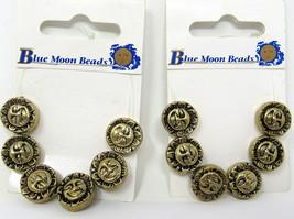 "12 Sun Blue Moon Beads Gold Large Sun Celestial 1/2"" 12mm Card Craft Jew... - $14.84"