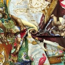 RARE Hermes Scarf Auth LES AMERIQUES 90cm Silk Foulard KERMIT OLIVER - $549.95