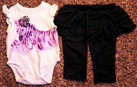 Girl's Size 0-3 M Months 2 PC Cream Place Zebra Top & Blue Skirted LW Leggings - $18.00