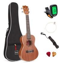 23in Acoustic Concert Sapele Ukulele Starter Kit w/ Gig Bag, Strap, Tuner - $49.95