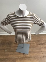 Talbots Brown & White Striped 3/4 Sleeve Knit Top Women's Casual Nice Cute - $11.99
