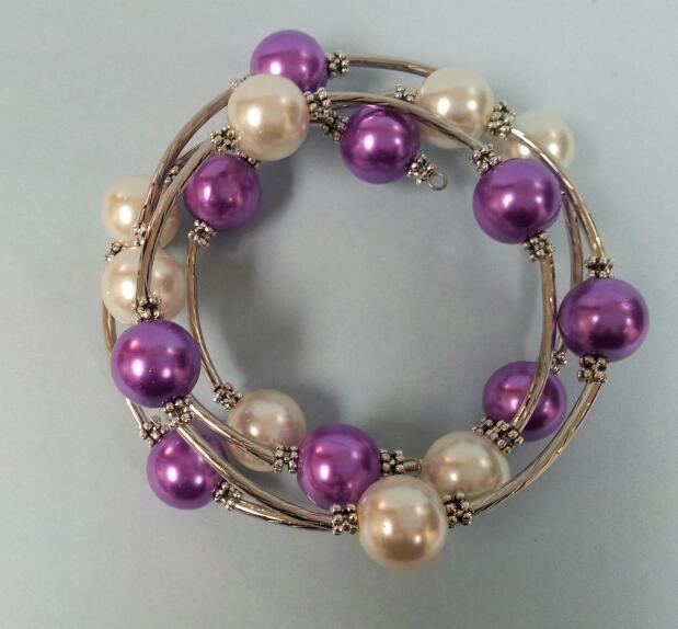 Memory Wire Bracelet -Medium Purple and White Pearl