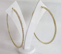 Large Gold Hoop Earrings/Golden Rhinestones Hoop/ Hoops/ Golden Crystal ... - $16.00
