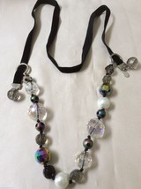 COOKIE LEE NECKLACE ADJUSTABLE SILVER TONE METAL IRIDESCENT BEADS VELVET - $27.72