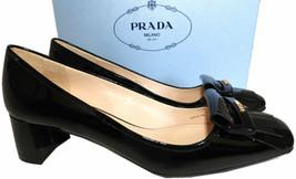 Prada Kiltie Low Heel Patent Leather Pumps Gold Logo Shoes 37 Fringes image 2