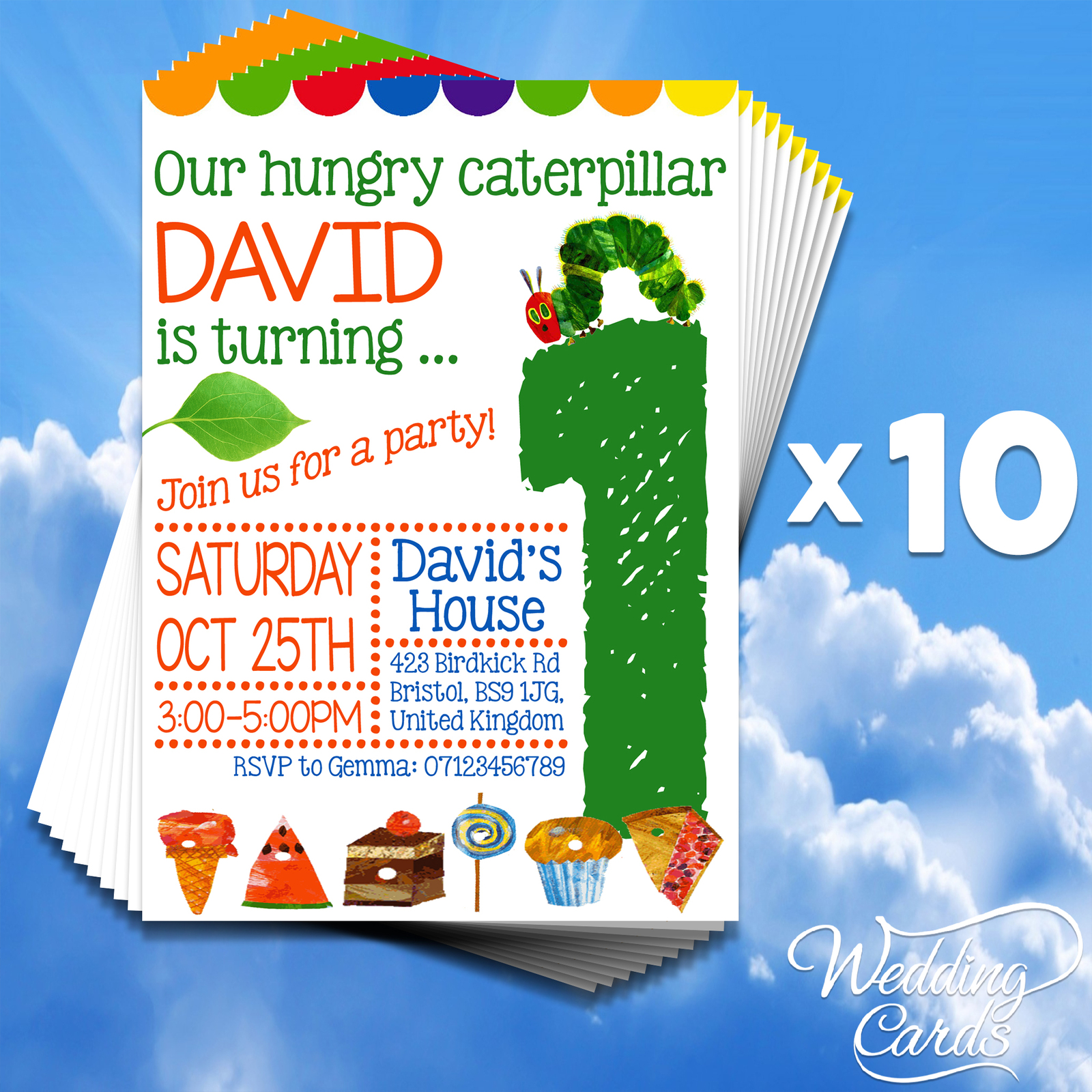 10 Personalised Girls Boys Kids Birthday Party Invitations Hungry caterpillar
