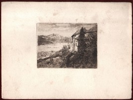 19th Century Decorative Print Lithograph Village Mountain Landscape - $15.07